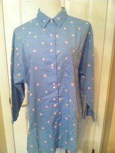 Vintage Blue Chambray Big Shirt/Blouse With Pink Hearts 1970's