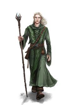 m Elf Cleric or Wizard w staff robes traveler Aelindir_fertig_ohneHintergrund