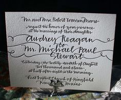 The String Calligraphy letterpress wedding invitation suite features whimsical hand calligraphy by Patricia Mumau for Bella Figura. Letterpress Wedding Invitations, Wedding Calligraphy, Wedding Stationery, Invites, Beautiful Calligraphy, Penmanship, Caligraphy, Wedding Announcements, Wedding Paper
