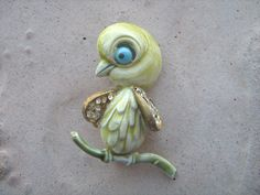 Vintage 1950 signed Har enamel rhinestone whimsical Bird Brooch #Har