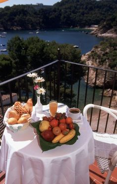 Breakfast at the terrace of a room. Hotel Aiguablava, Begur, Cala Fornells, Costa Brava, Luxury Hotels
