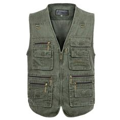 Mens Outdoor Fishing Solid Color Multi-pocket Photojournalist Cotton Vest Waistcoat Big Size M-5XL