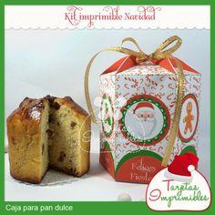 "Caja para Pan dulce ""Navidad"" / Tarjetas Imprimibles - Artesanio"