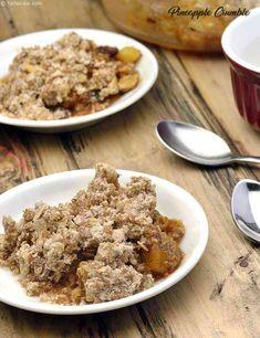Vegetarian Breakfast, Breakfast Recipes, Fresh Pineapple Recipes, Eggless Waffles, Crumble Recipe, Muesli, Baked Goods, Oatmeal, Deserts