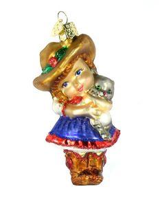 Little Cowgirl Ornament. #Christmas #NewYear #Ornament #Decor #giftidea #Gift #gosstudio .★ We recommend Gift Shop: http://www.zazzle.com/vintagestylestudio ★