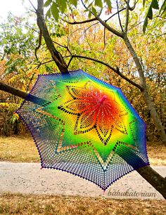 Solaster Rainbow Crochet Lace Parasol by babukatorium, via Flickr