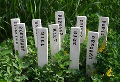 Special Order Reserved for Tom Faller - 6 Herb or Vegetable Garden Markers - Pottery Plant Stakes - Custom Order