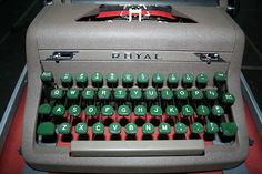 Vintage Royal Quiet De Luxe Portable Typewriter 1953 with Case…  1953 in Literature:  Ian Fleming's Casino Royale, Burroughs' Junkie, and Chandler's The Long Goodbye - all of which could have been typed on those green keys - and Beckett's Waiting for Godot, which couldn't…