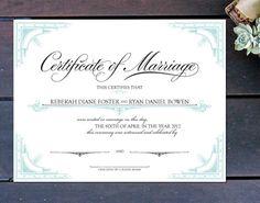 Letterpress Marriage Certificate Blank Marriage Certificate Gold
