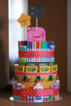 School supplies cake - Teacher appreciation made gifts handmade gifts gifts gifts Raffle Baskets, Gift Baskets, Theme Baskets, Teacher Appreciation Gifts, Teacher Gifts, Teacher Presents, Craft Gifts, Diy Gifts, School Supplies Cake