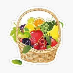 Fruit Clipart, Fruit Vector, Fruit Basket Drawing, Image Clipart, Vector Clipart, Vector Stock, Fruit Cartoon, Fruits Drawing, Vegetable Basket
