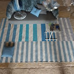 Designers Guild - Fabrics & Wallpaper Collections, Furniture, Bed and Bath, Paint, and Luxury Home Accessories Luxury Home Decor, Luxury Homes, Purple Carpet, Carpet Trends, Striped Rug, Designers Guild, Floor Decor, Fabric Wallpaper, Delft