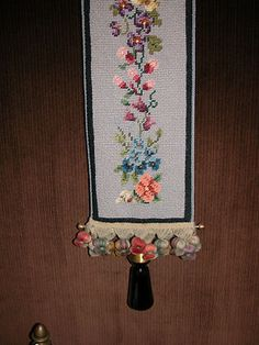 Antique Victorian Needlepoint Bell Pull w Green Glass Pull