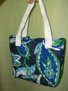 Hand Sewn Blue Green Floral Fabric Small Tote Bag Purse Lunch Bag Gift Bag Upcycled Adult Child Toddler by TheRoyaleRagbag on Etsy