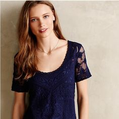 "Anthropologie Meadow Rue Embroidered Mesh Tee Anthropologie - Meadow Rue - blue embroidered mesh tee. It's sheer, so a cami would be perfect underneath. 100% Nylon. Price tag is off, but another tag is still on. Never worn and brand new! 23""L  Reasonable offers considered!  Anthropologie Tops"