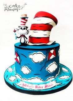 Dr. Suess Cat in the Hat Themed Birthday cake! Call or email to place your order! #catinthehat #drsuess #birthday #birthdaycake #fondant