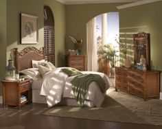 The Trinidad is made with solid wood drawers and heavy Cane weave. This is a very unique high end set built to make the perfect Tropical bedroom. It is available in the Oak stain as shown. The pricing is excellent for such a high end line. Wicker Bedroom Furniture, Indoor Wicker Furniture, Wicker Chairs, Furniture Decor, Wicker Baskets, Rattan, Rustic Bedroom Sets, Tropical Bedrooms, Outdoor Sofa Sets