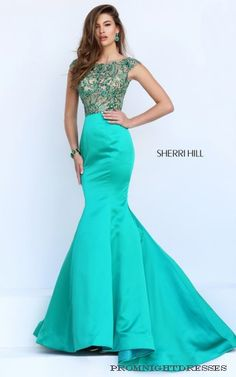 Emerald Sherri Hill 32358 Cap Sleeve Mermaid Prom Dress