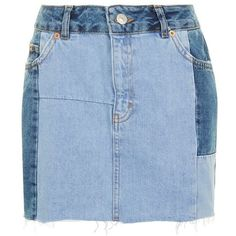 Women's Topshop Colorblock Denim Miniskirt (€32) ❤ liked on Polyvore featuring skirts, mini skirts, denim, denim miniskirt, high-waist skirt, blue high waisted skirt, high waisted denim skirt and high waisted short skirts
