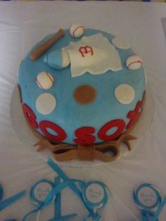 baby shower cake, red sox, jack & jill theme, right after 2013 world series win, baby!!!