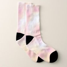 Spring pink peach abstract watercolor wash socks - girly gifts special unique gift idea custom