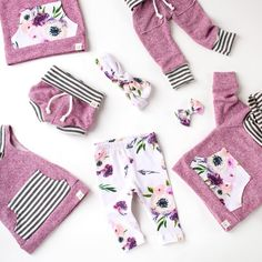 Plum and floral print girls clothing