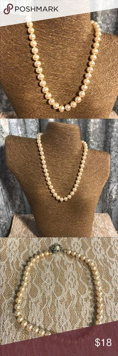 "♨New Listing♨ Vintage Faux Pearl Necklace Vintage Faux Pearl Necklace in good condition. Pearls are knotted between each pearl. Clasp is in working condition. One side of clasp only has one side attached to the pearl. Clasp still functions properly just want buyer to be aware. See last picture for best picture I could get. Pearls are off white & 18"" long.  Thanks for looking. Vintage Jewelry Necklaces"