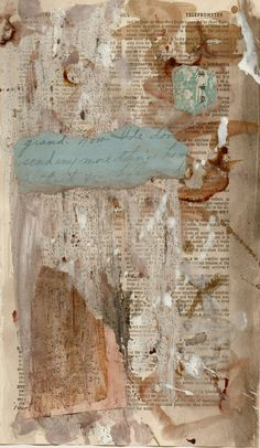 abstract mixed media on book page by paperwerks on Etsy