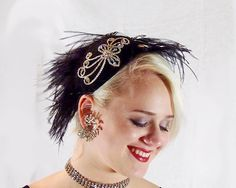 Black and Crystal Fascinator with Ostrich Feathers by HatTrix on Etsy Ostrich Feathers, Fascinator, Crystals, Earrings, Etsy, Black, Jewelry, Fashion, Ear Rings