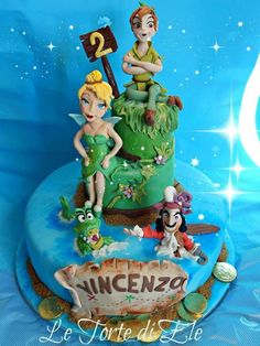 Peter Pan and Trilly cake! - Cake by Eleonora Ciccone Peter Pan And Tinkerbell, Peter Pan Disney, Cake & Co, Cake Art, Disney Birthday, Birthday Cake, Bolo Artificial, Peter Pan Cakes, Fondant