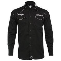 Jack Daniel's by Wrangler Men's Embroidered Logo Western Shirt Rodeo Shirts, Cowboys Shirt, Western Shirts, Jack Daniels Shirt, Casual Outfits, Casual Clothes, Nike Jacket, Motorcycle Jacket, Chef Jackets