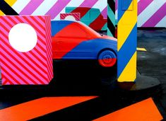 Street Artist Turns Abandoned Gas Station Into Giant Geometric Art Installation