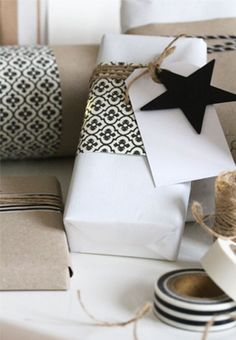 Lots of creative gift wrapping ideas here. I love this one for a black and white party.