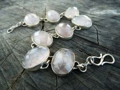 Rose Quartz 925 Sterling Silver Bracelet Link Oval Faceted Pink Studded Antique, Sterling silver bracelet, gemstone bracelet, gift for her by CraftsIndiaDesigns on Etsy Sterling Silver Bracelets, Silver Jewelry, Silver Roses, Precious Metals, Small Businesses, Rose Quartz, Gifts For Her, Brooch, Gemstones