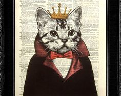 Cat Print - Cat King - ORIGINAL ARTWORK hand painted book art print on 8x10 Vintage Dictionary page, Dictionary art, Dictionary print.