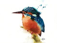 Watercolor Bird Kingfisher Original Watercolor by CMwatercolors