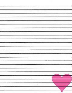 free pink heart lined paper printable