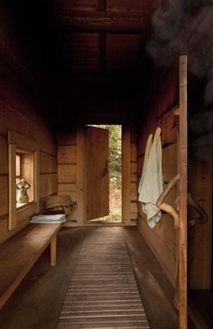 Entrance of the traditional Juuka based smoke sauna introduced in the Wall… Swedish Sauna, Finnish Sauna, Sauna Steam Room, Sauna Room, Long Narrow Rooms, Sauna Shower, Sauna House, Traditional Saunas, Portable Sauna