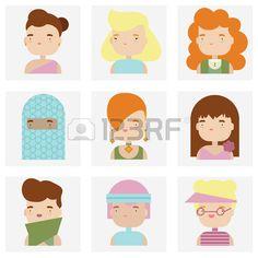 Płaskie ikony zbiór różnych atrakcyjnych kobiet ludzie znaków w ładny stylu kawaii. Zdjęcie Seryjne