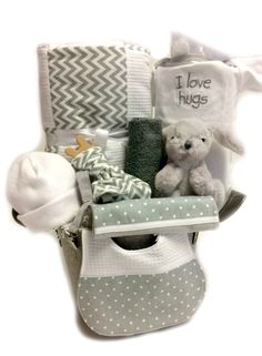 NEUTRAL BABY GIFT BASKET - I LOVE HUGS 9pc gender neutral gift baskets made in ontario