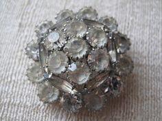 Vintage Rhinestone Domed Brooch by mimiyaya on Etsy, $36.00