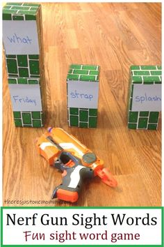 Nerf gun sight words is a fun way to work on early reading skills. Discover how to use Nerf guns to practice sight words in this fun sight word game. Sight Word Spelling, Teaching Sight Words, Sight Word Practice, Sight Word Games, Spelling Activities, Sight Word Activities, Learning Activities, Fun Reading Games, Kids Reading