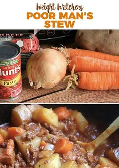 Looking for a budget meal this week? I made this Poor Man's Stew for $6.24 and it feeds 5 people! I put ground beef, russet potatoes, carrots, onions, tomato pa. INGREDIENTS: 1 pound ground beef 1/2 medium onion, chopped 3 slices bacon, raw and chopped 3-4 carrots, peeled and sliced 3-4 small potatoes, peeled and cut into …