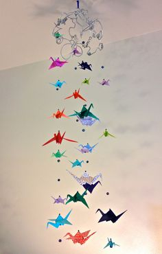 Multicolored Origami Crane Mobile by BetweenTheSpectrum on Etsy | Craft Juice