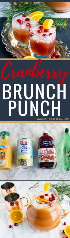 Cranberry Brunch Punch - Delicious drink using only 4 ingredients. fresh taste combines pineapple, cranberries, orange juice for a chilled drink. Perfect for the holidays . * was a hit with my husband & the girls at brunch! Holiday Drinks, Summer Drinks, Fun Drinks, Holiday Recipes, Detox Drinks, Alcoholic Drinks, Sweet Cocktails, Summertime Drinks, Christmas Cocktails