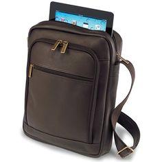 The iPad Leather Satchel - Hammacher Schlemmer
