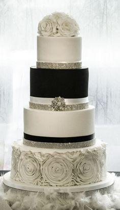 Winter wedding cake. Black and white wedding cake. Bling wedding cake. Ruffle wedding cake.