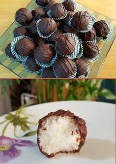 Σοκολατάκια Bounty νηστίσιμα !!! ~ ΜΑΓΕΙΡΙΚΗ ΚΑΙ ΣΥΝΤΑΓΕΣ 2 Vegan Sweets, Vegan Desserts, Candy Recipes, Dessert Recipes, Cookbook Recipes, Cooking Recipes, Nutella, Breakfast Dessert, Chocolate Truffles
