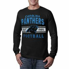 (Jason) Carolina Panthers Vintage Team Arch Thermal Long Sleeve T-Shirt - Black