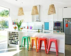 Colorful kitchen stools.